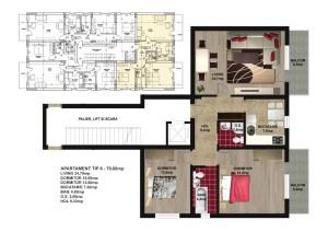 Apartament 3 camere militari apusului 90mp
